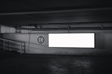 Fotomurales - Empty Billboard Rectangular White Mockup Advertisement on the Parking