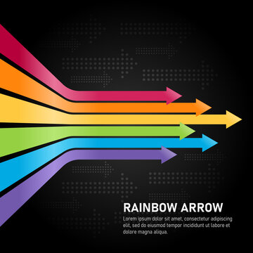 Colorful rainbow arrows Horizontal tending and abstract circle dot arrows texture style on dark background vector design