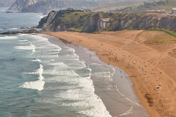 La Salvaje beach viewed from above. Basque country, Spain