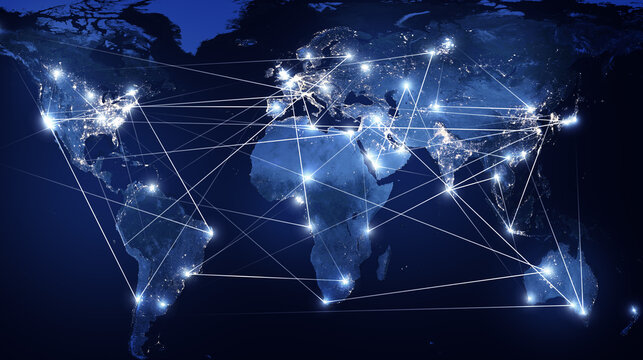 Global networking and international communication. World map as a symbol of the global network. Elements of this image furnished by NASA.