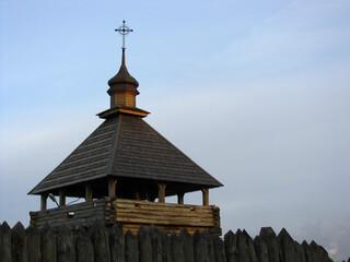 Kozacka obronna drewniana wieża na Zaporoskiej Siczy, Zaporoże, Ukraina
