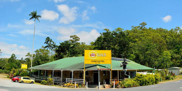 The Leap, Queensland, Australia – December 31, 2017.  Exterior view of historical Leap Hotel with statue of Aboriginal Kowaha woman clutching her baby in The Leap locality in Queensland.