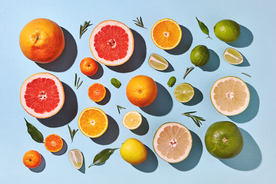 Top shot of pattern of ripe citrus summer composition of whole a