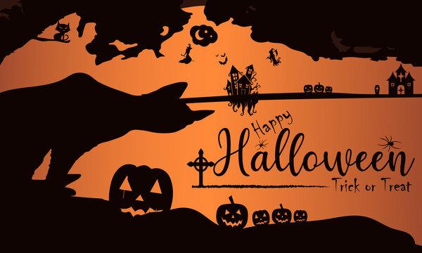 Happy Halloween Horizontal Illustration Design