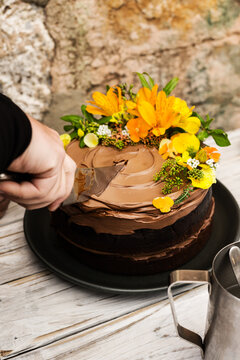 delicious double layer chocolate cake with flower decoration