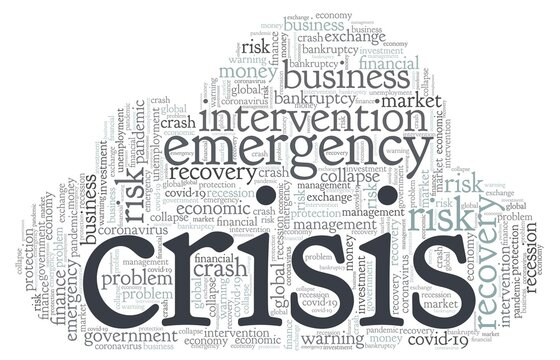 Economic crisis word cloud isolated on a white background