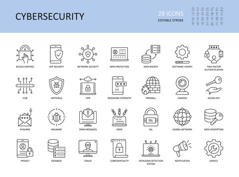 Cybersecurity vector icons. Editable stroke. Access control app network security, data protection backup software update 2fa. Encryption spam messages antivirus, phishing malware vpn password firewall