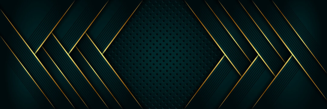 Abstract luxury geometric green with gold lines background vector design template . Premium Graphic design element with golden frame