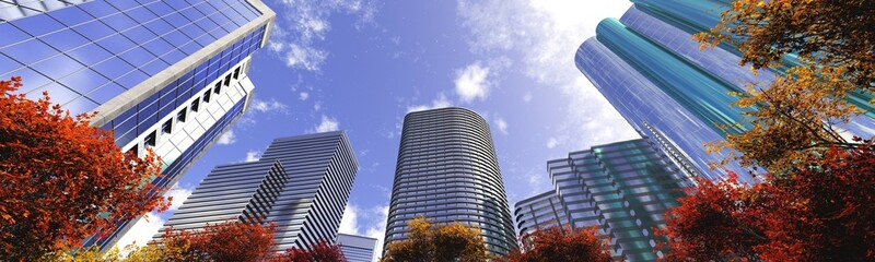 Skyscrapers on the background of the sky bottom view, modern high-rise buildings, autumn in the city, 3D rendering