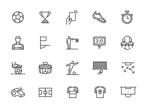 minimal soccer line icon set