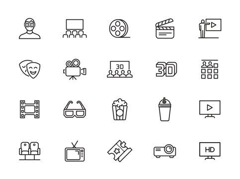 minimal cinema line icon set