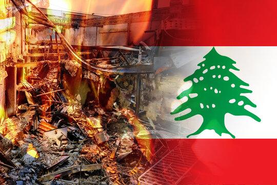 Pray for Beirut Lebanon blast tragedy in Beirut on National flag of Lebanon