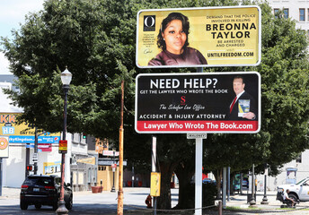 A billboard sponsored by Oprah Winfrey about the killing of Breonna Taylor is seen in Louisville
