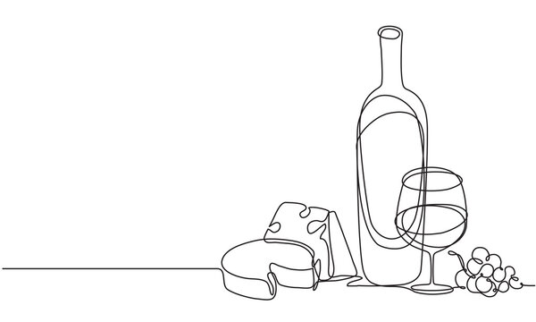 Wine glasses, a bottle of wine and cheese. Still life. Sketch. Draw a continuous line. Decor.