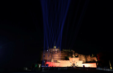 Beams of light shine to mark what would have been the opening weekend of the 2020 Edinburgh International Festival