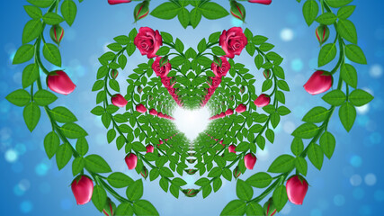 Beautiful Romantic Heart Rose Vine Flowers And Green Leaves Tunnel In The Wind With Bright Blue Sparkling Glitter Blurry Light Optical Bokeh