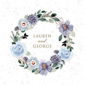 blue green wedding badge watercolor floral wreath