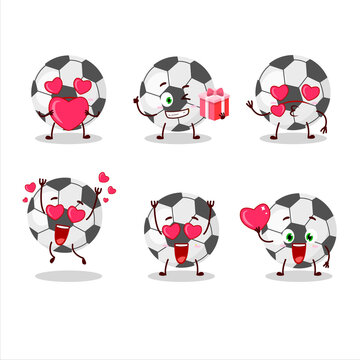Soccer ball cartoon character with love cute emoticon