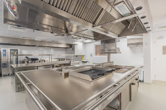Isolated commercial kitchen interior