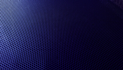 abstact gradient blue perforated metal background for technology or industrial concept. round holes mesh background.
