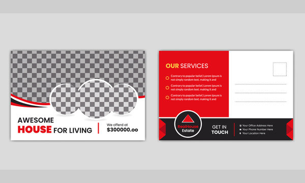 Modern real estate business postcard template.