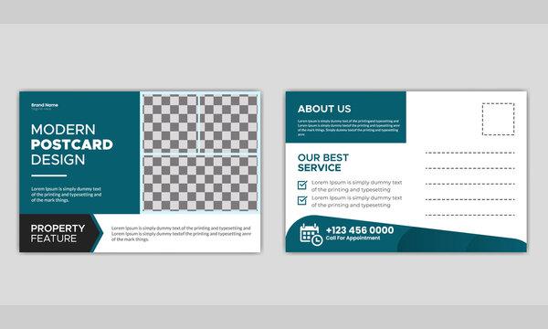 Real estate business postcard template design.