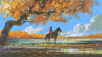 Foto auf Acrylglas Grandfailure woman sitting on a horse under an autumn tree, digital art style, illustration painting