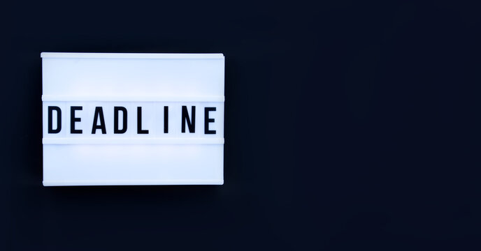 Deadline word on the white display