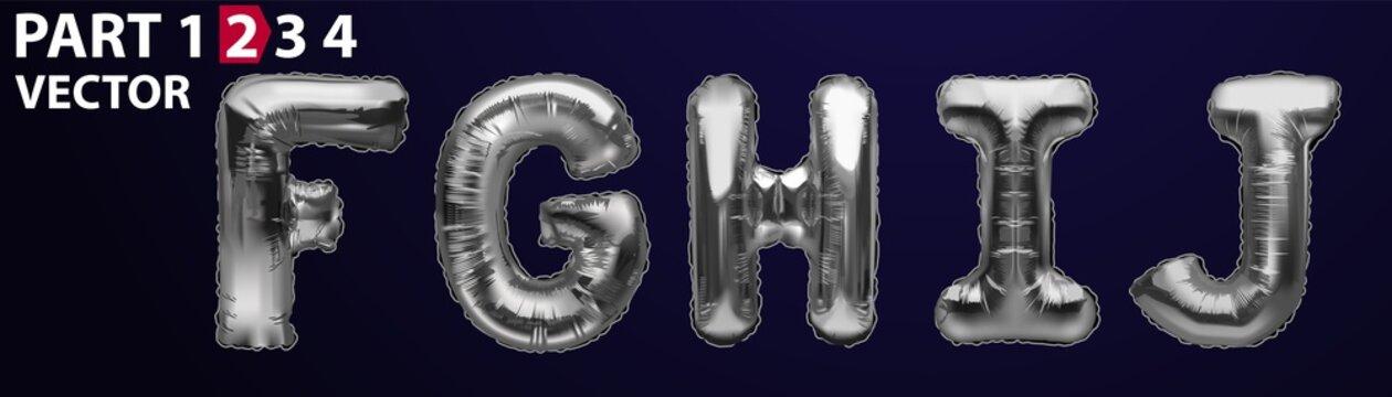 FGHI silver foil letter balloons on dark background. Silver alphabet balloon logotype, icon. Metallic Silver FGHI Balloons. Text for children's reading, vector eps