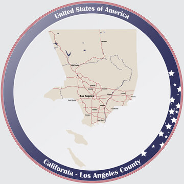 Round button with detailed map of Los Angeles County in California, USA.