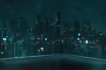 3D Rendering of roof top building with view of futuristic cyber punk city at night. Sky scrapper towers with glowing advertising signs. For business technology product background, wallpaper