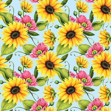 Floral seamless pattern with decorative sunflowers, poppies and leaves.