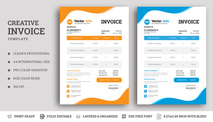 Invoice bill design template. Bill form business invoice and Office bill Design