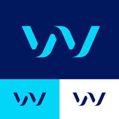 W letter as volume bent figure. W illusion monogram. Blue monogram on different backgrounds. Logo can be used for web, clothes, sport or business.