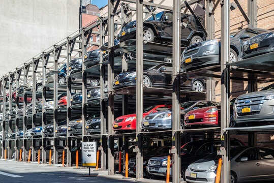 NEW YORK, USA - SEPTEMBER 28, 2013: An automated car parking system on September 28, 2013 in Manhattan, New York City, USA. Automatic multi-story automated car park systems are less expensive per