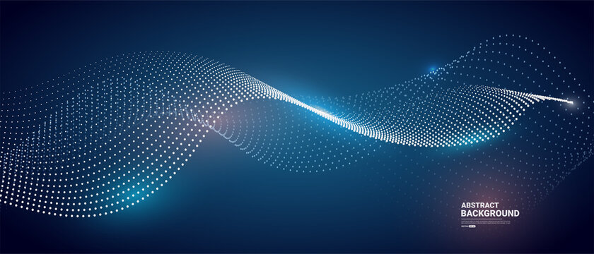 Abstract blue background with flowing particles. Dynamic waves. vector illustration.