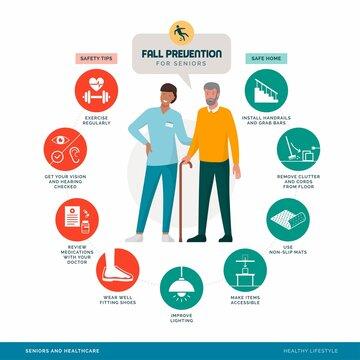 Senior fall prevention tips infographic