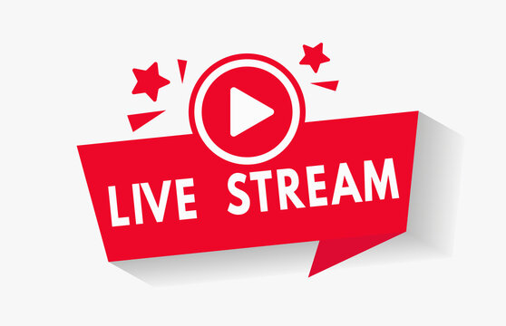 Red live video stream vector icon button for news broadcast. Social media video channel logo in flat style for online stream lower third bar overlay element. V1