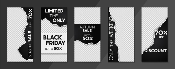 Set of sale, website store banner templates. Banners for online shopping. Editable Instagram Stories template with torn paper. Vector illustrations for posters and newsletter designs, ads