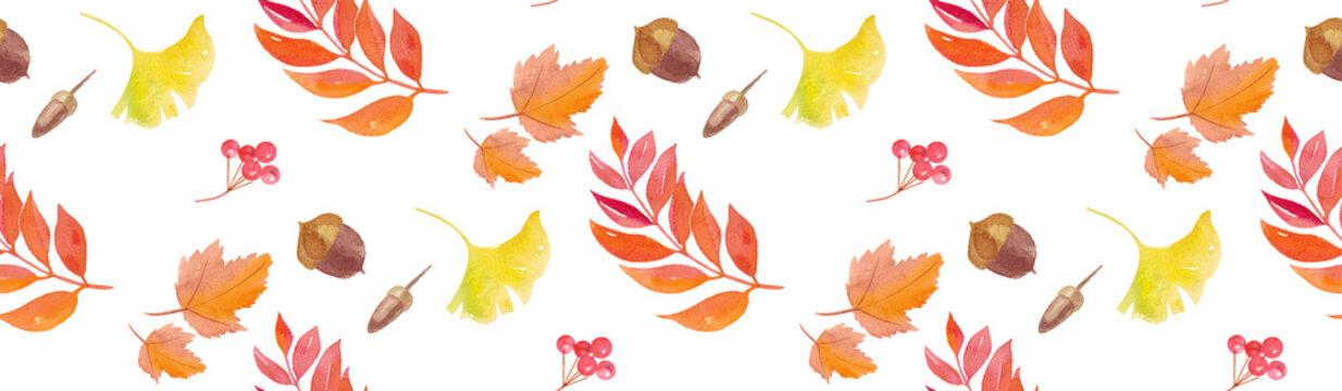 秋の自然素材で構成したシームレスパターン。水彩イラストのトレースベクター。
