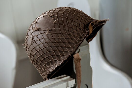 US Army helmet as used in world war two and the Korean war
