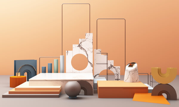3d rendered illustration with geometric shapes. Pastel colors platforms for product presentation. Abstract composition in modern style. Minimalist design with empty space.