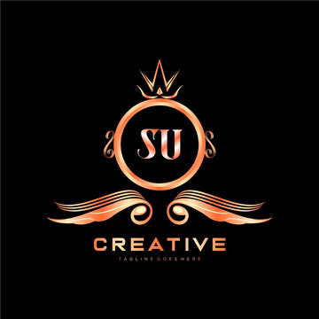 SU initial logo With Colorful Circle template vector.