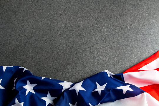 American flag stone background.The Flag Of The United States Of America. Us flag.  place to advertise, template.The view from the top.