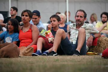 People watch The Goonies movie at Sundown Cinema