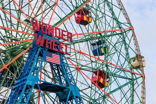 New York City. The Wonder Wheel, a 45.7-metre (150 ft) tall eccentric Ferris wheel built in 1920 and located at Deno's Wonder Wheel Amusement Park, in the Coney Island neighborhood of Brooklyn