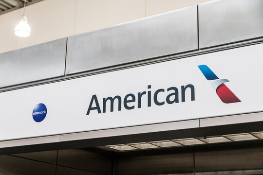 Athens, Greece. Logo of American Airlines, a major American airline headquartered in Fort Worth, Texas. at Athens International Airport