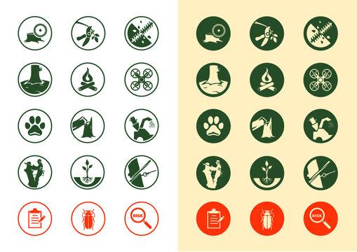 Tree removal service icon set