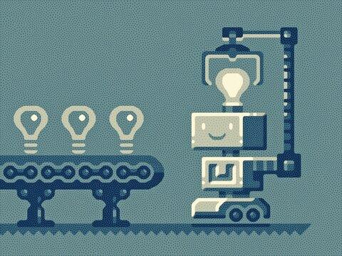 robot with idea light bulb