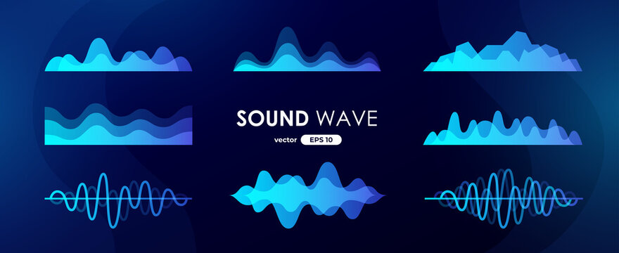 Sound wave set. Digital music equalizer. Beautiful abstract minimal background. Simple modern style. Blue neon color. Pulse line. Volume. Flat style vector illustration.